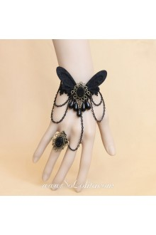 Lolita Vintage Black Lace Pearls with Butterfly Bracelet