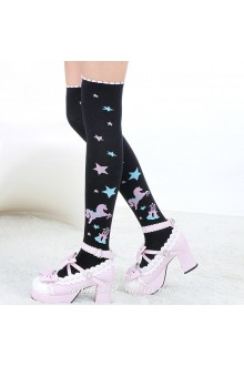 Cute Pop Fashion Stars Pony Pattern Knee Stockings