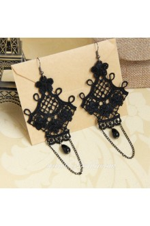 Fashion Black Lace with Hook Flower Lolita Earring