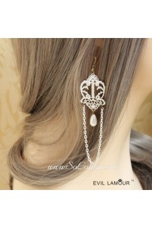 Sweet White Lace with Pearl Tassels Lolita Earring