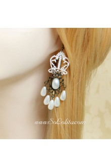 White Lace Crown Pearl Pendant Lolita Earring
