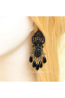 Black Lace Crown Pearl Pendant Lolita Earring
