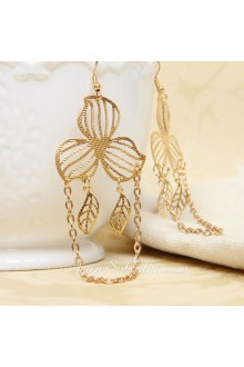 Fringed Golden Leaf Lolita Earring