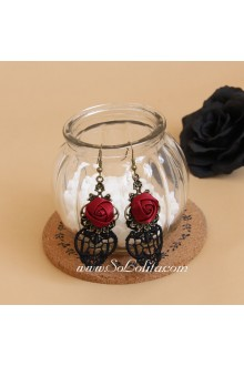 Gothic Red Rose Lace Lolita Earring