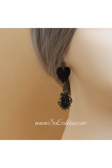 Party Vintage Leather Heart  Lolita Earring
