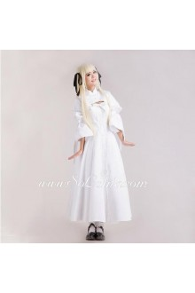 Kasugano Sora White Thick Satin and Lace Cosplay Lolita Dress