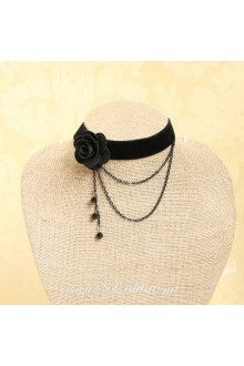 Gothic Black Velvet Ribbon with Crystal Flower Lolita Necklace