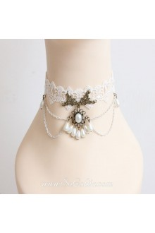 Vintage Lady Lace Pearls Lolita Necklace