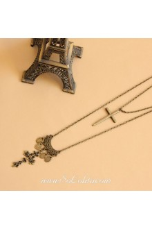 Vintage Bronzed Crucifix Lolita Sweater Chain