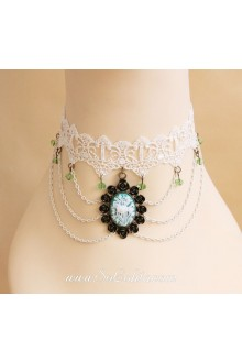 Sweet White Lace Carved Gemstone  Lolita Necklace