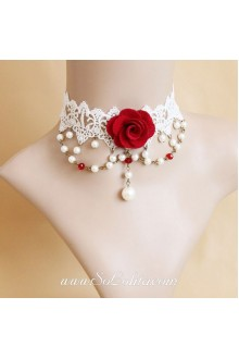 Sweet White Lace with Red Flower Lolita Necklace