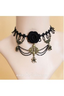 Gothic Black Lace Bronze Spider  Lolita Necklace