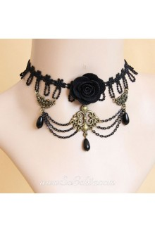 Fashion Black Lace with sexy Flower Lolita Necklace