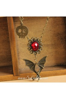 Gothic Vintage Bat Skeletons Lolita Necklace