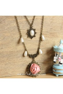 Lolita Vintage Bronzed Pearls Rose Sweater Chain