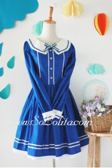 Sweet School Blue Lace Trim      Sailor Lolita Dress