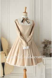 Vintage Champagne Cotton Doll Collar Long Sleeves Classic Lolita Dress