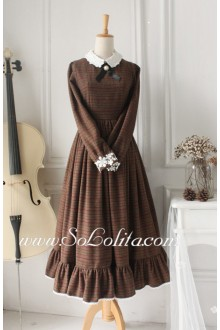 Vintage Brown Grid Wool Classic Lolita Dress
