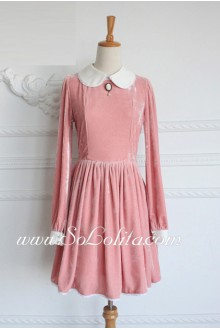 Vintage Pink Velvet Doll Collar Long Sleeves Classic Lolita Dress