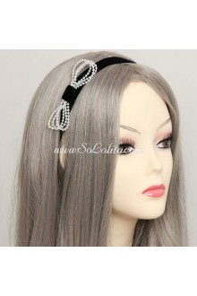 Lolita Headdress Fashion Black Velvet Ribbon Beads Headband
