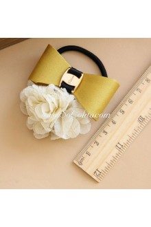 Lolita Headdress Yellow Bowknot and Beige Flower Hair Rope