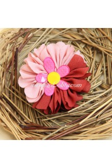 Lolita Headdress sweet Pink and Red Chiffon Flower Hair Rope