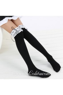 Cute Pop Fashion Slim White-Lace Black Lolita Knee Stoc