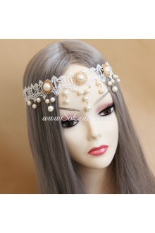 Lolita Headdress bridal Sweet White Lace Pearl Headband