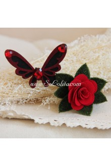 Lolita Headdress Sen Department   Red Rose Butterfly Barrette
