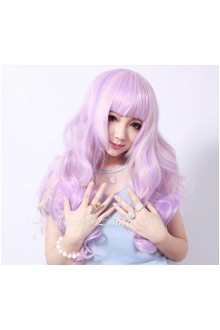 Lolita Dreamful Purple with Light Yellow Curly Cosplay Wig