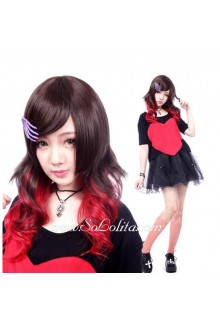 Lolita Gradient Black and Red Long Curly Cosplay Wig
