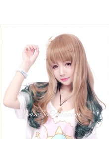Lolita Gradient Light Brown with Dark Green Curly Cute Cosplay Wig