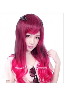 Lolita Red with Black Curly Cute Cosplay Wig