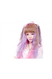 Lolita Brown Purple Gradient Maid Cute Cosplay Wig