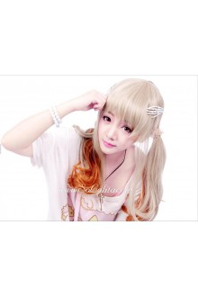 Lolita Sweet Girl Wheaten and Orange Mixed Long Curly Cosplay Wig