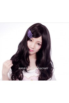 Lolita Sweet Girl Black-Brown Long Curly Cosplay Wig