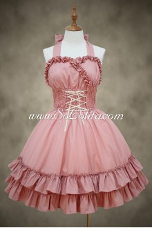 Pink Cotton Straps Sleeveless Flouncing Sweet Lolita Dress