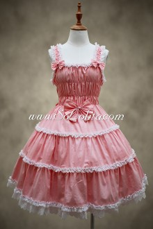 Dreamful Pink Lace Hem Sweet Lolita Dress