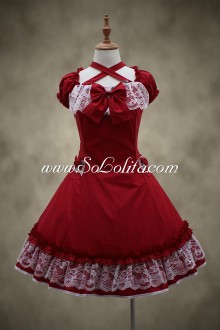 Red Cotton Square Neck Short Sleeves Lace Trim Classic Lolita Dress
