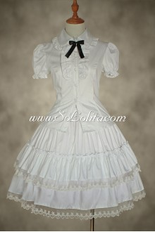 White Cotton and Lace Multilayer Lolita Dress Petticoat