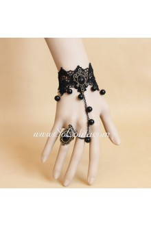 Fashion Black Lace and Black Pearl Lolita Bracelet