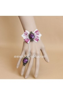 Christmas Rose Flower Lace Bow Lolita Bracelet