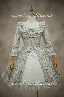 Cute Square Neck Long Sleeves Lace Trim Sweet Lolita Dress