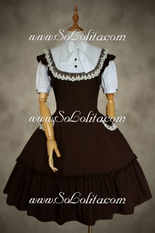 Brown Cotton Stand Collar Classic Lolita Dress