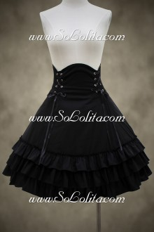 Swwet Black Cotton Knee-length  Lolita Skirt
