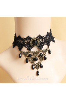 Gothic Black Lace Pearl Clavicle Lolita Necklace