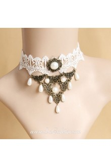Gothic White Lace Pearl Clavicle Lolita Necklace
