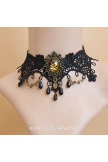 Elegant Black Lace Diamond Flower Lolita Necklace