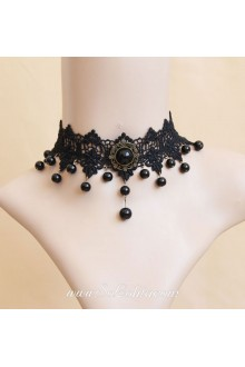 Vampire Black Lace Pearls Lolita Necklace