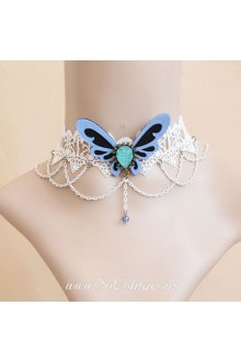 White Lace Butterfly and Pearls Lolita Necklace